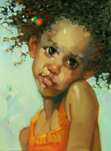 """My Brown Eyed Girl"" Kim Roberti's 6x8 Oil/Gessobord contemporary realism figure portrait of a child., painting by artist Kim Roberti"
