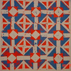 """Freedom Quilts"" Reduction linoleum prints, African American Folk Art and Quilt Design"