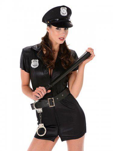 Sexy Polizistin Damenkostüm Politesse schwarz-1