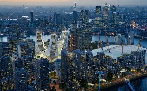 Peninsula Place a new £1 billion scheme at the heart of Greenwich Peninsula unveiled by Santiago Calatrava, architect, Sammy Lee of developer Knight Dragon and Mayor of London, Sadiq Khan.