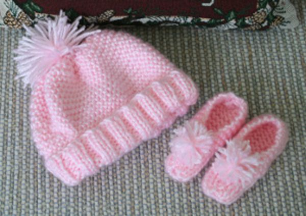 Single Skein Knit Baby Hat and Booties