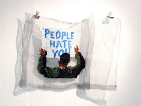 ami grinstead embroidery. she did an egyptian revolution series. Paging @Sally Fort !