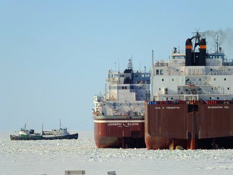 Taken on the first day of freeing Great Lakes ships from their icy winter harbor, in Sturgeon Bay.