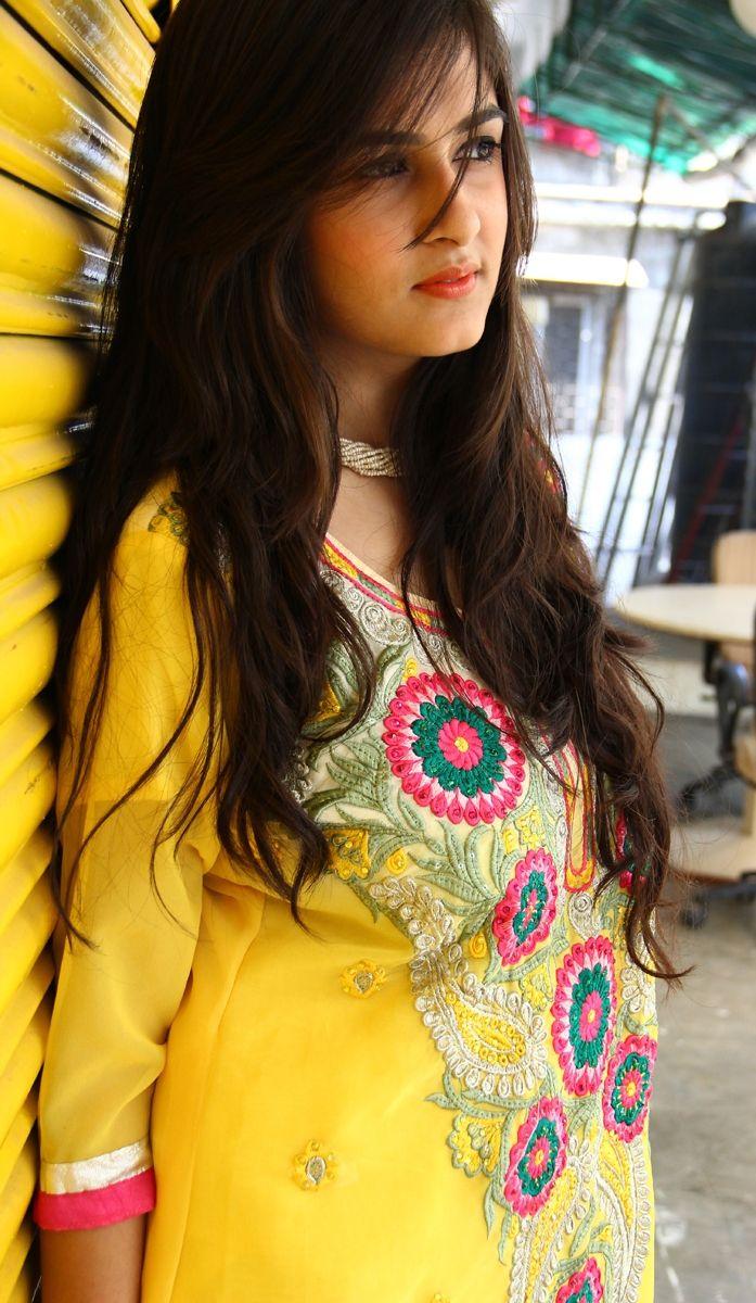 Floral Embroidered Yellow Churidaar Kameez