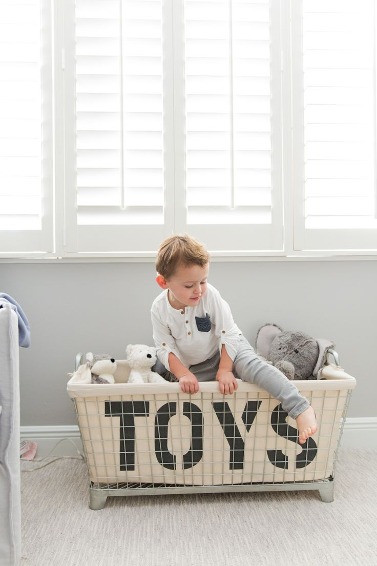 "Designed for adventure. Amanda S. Gluck, lifestyle blogger of fashionablehostess.com, reveals the ""big boy room"" she designed for her son with RH Baby & Child. Featuring our Industrial Toy Basket."