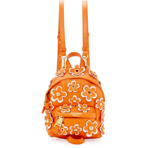 Moschino Flower Applique Small Backpack found on Polyvore featuring bags, backpacks, orange, moschino, moschino backpack, detachable backpack, orange backpack and knapsack bag
