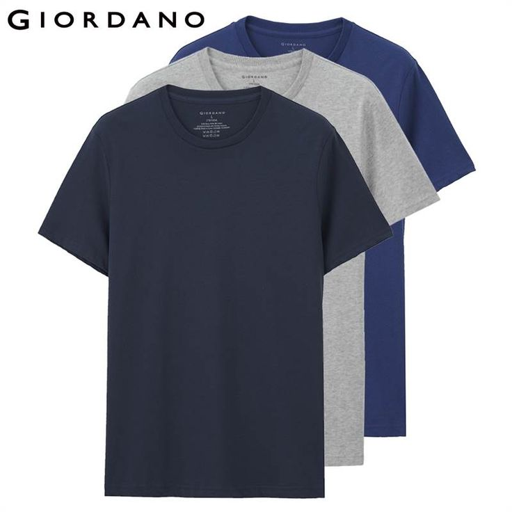 Giordano Men T-shirt Short Sleeves 3-pack Undershirt Male Solid Cotton Mens Tee Summer Jersey Brand Clothing Sous Vetement Homme //Price: $52.00 & FREE Shipping //     #fashion