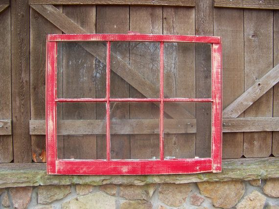 Old red window frame 32x28 by vintagehousecreation on etsy for Outdoor window frame decor