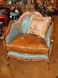 Brompton Saddle Chair with embossed turquoise leather.  What a stylish piece for your ranch home! From Rawhide in OK City.
