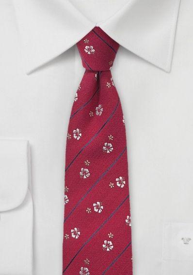 Krawatte Blumen gestreift rot