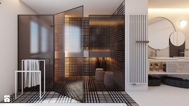 PROJEKT D19_15 / WARSZAWA _ ŁAZIENKA - Duża łazienka w domu jednorodzinnym jako salon kąpielowy z oknem, styl minimalistyczny - zdjęcie od A2 STUDIO pracownia architektury