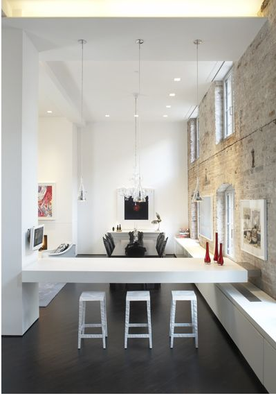 tribeca loft, nyc: Dining Rooms, Living Rooms, Brick Wall, Loft Interiors, Design Interiors, Architecture Interiors, Interiors Design, Decor Blog, Tribeca Loft