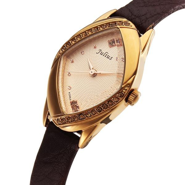 Julius JA-660 Fashion Crystal Rhombus Leather Women Quartz Watch - US$18.89