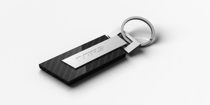 Key ring made of carbon. Shape is based on one of the specific Škoda design element | Klíčenka z karbonu. Tvar je postaven na jednom ze specifických designových prvků vozů Škoda