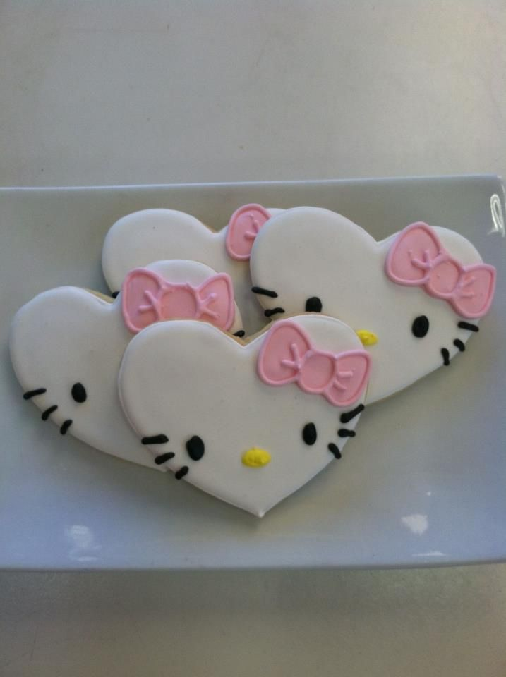Hello Kitty cookies! Actually really easy with a heart cookie cutter!