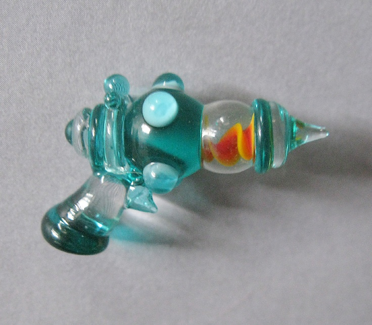 Glass Lampwork Retro Ray Gun Sculpture or Pendant