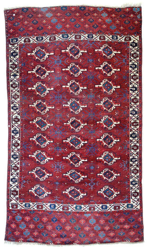 Yomut main carpet 9ft. 2in. x 5ft. 3in. (279 x 159 cm) Turkmenistan circa 1800