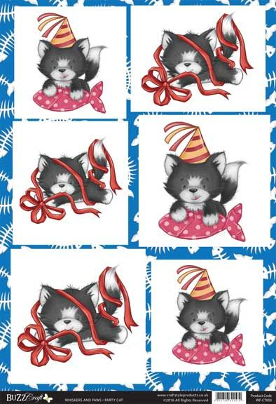 Buzzcraft Whiskers and Paws die cut toppers - Party Cat