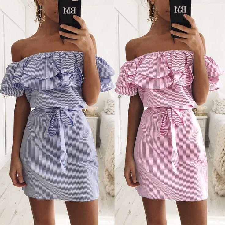 2017新しい夏のドレスファッション女性かわいいカジュアルセクシーなスラッシュネックオフショルダーフリルストライプコットンリネンミニdress vestidos