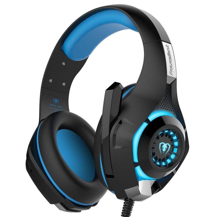 Casque Gaming, Bovon Casque Filaire Basse Stéréo Réduction de bruit Écouteur avec Microphone LED Lumière Contrôle du Volume pour PS4 Tablet Laptop (Bleu)