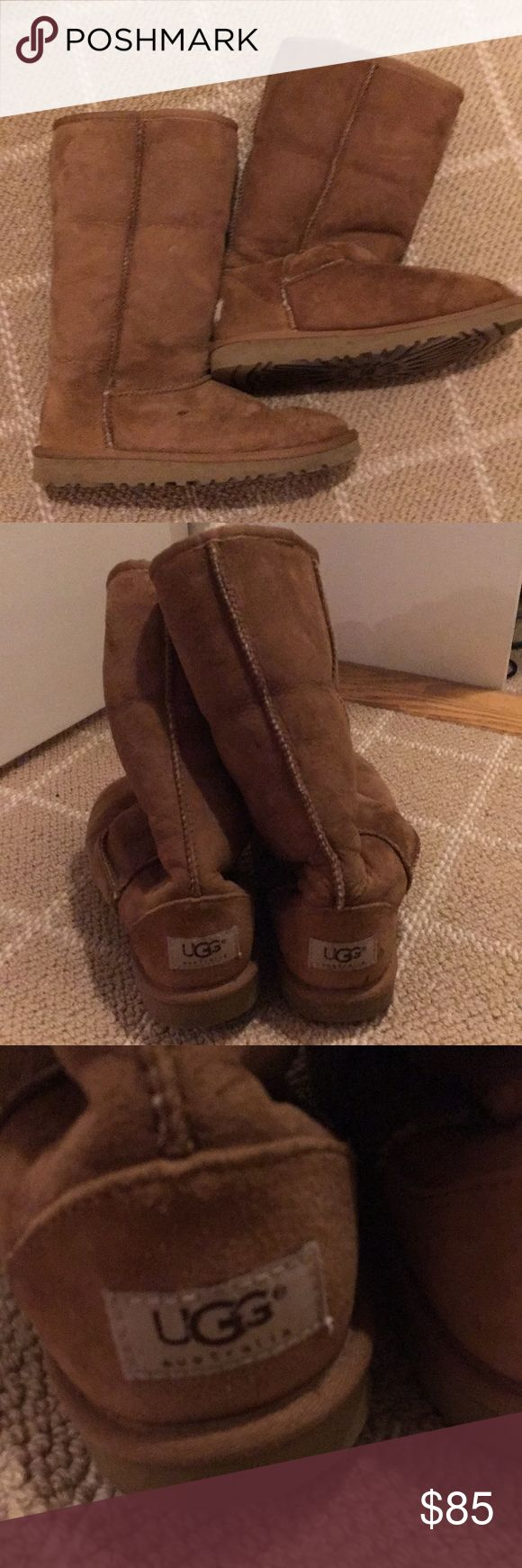 UGG Boots Original UGG brand tall boots in tan/natural color exterior and cream inside interior. Very good condition. Can be worn tall or rolled over for two looks. US size 4 kids (equivalent to women's size 6) UGG Shoes Winter & Rain Boots