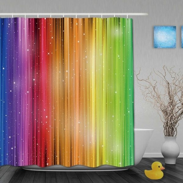 Magic Striped Rainbow Shower Curtains Waterproof Fabric Bathroom