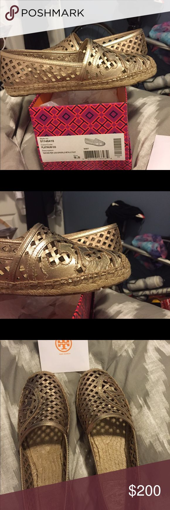 Tory Birch Gold Espadrilles Amazing gold espadrilles for Tory 2014. Size 9.5, brand new! Tory Burch Shoes Espadrilles
