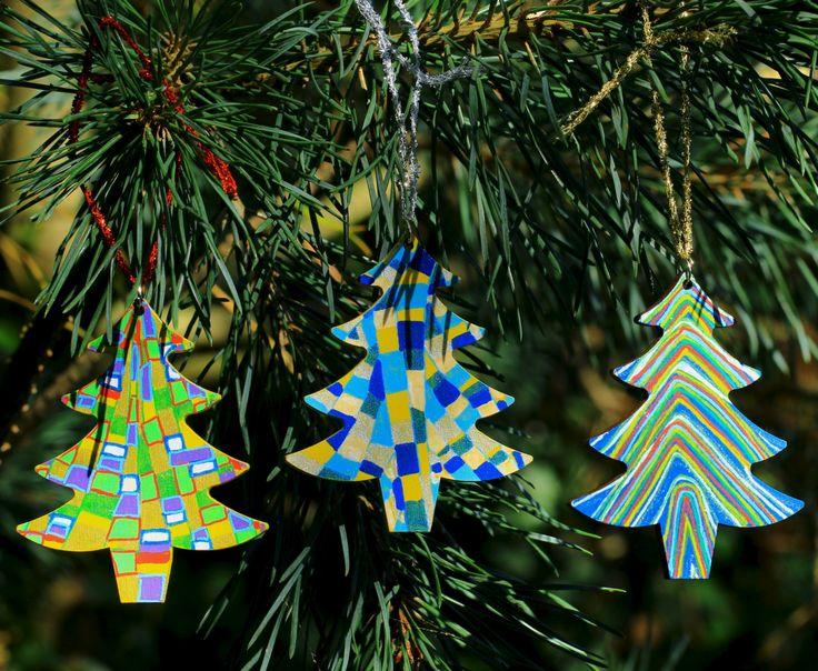 Christmas Wooden Decoration, Tree Decoration, Hand Painted Decorations, Holiday Decor, Christmas Ornaments, Wooden Decor, Christmas Trees by Larryware on Etsy
