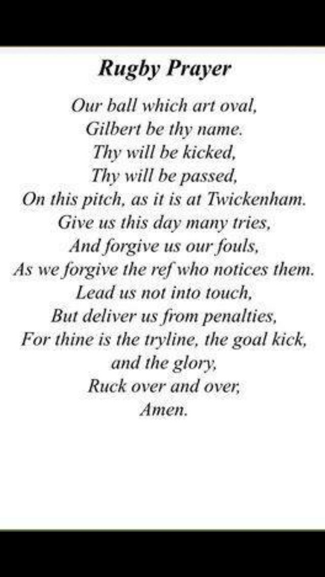 Rugby prayer