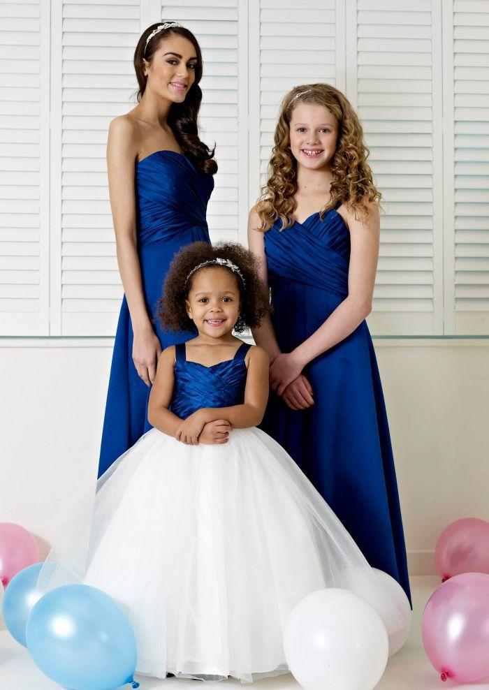 Ruched Satin Sweetheart/Straps Blue Sleeveless Floor length A-line Zipper Junior Bridesmaid Dresses