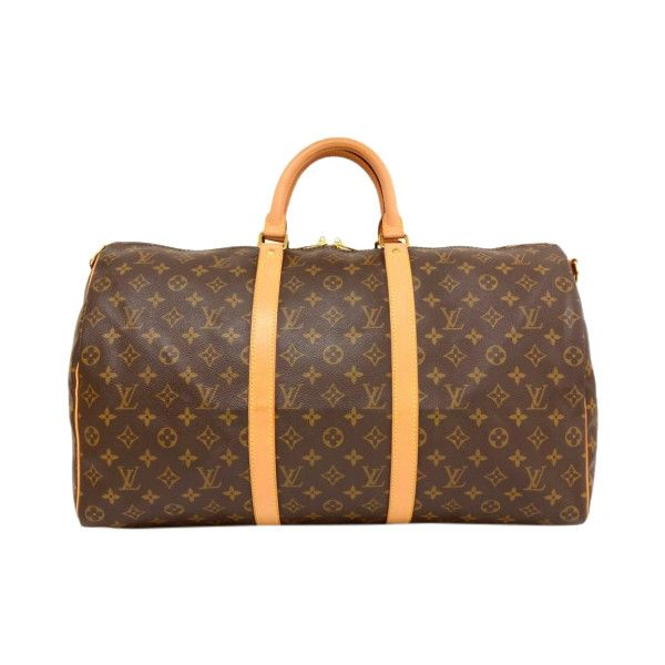 Pre-Owned Louis Vuitton Keepall 50 Bandouliere Monogram Canvas Duffel... (2,995 SAR) ❤ liked on Polyvore featuring bags, luggage and brown