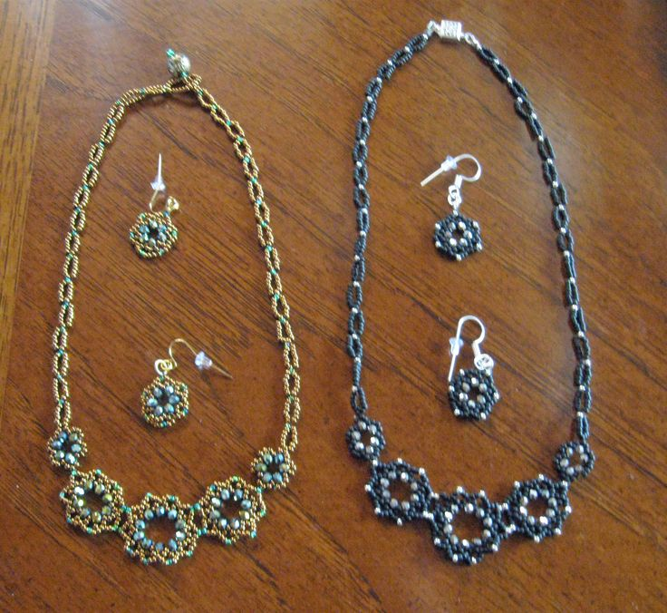 Two new beaded necklaces with matching earrings.