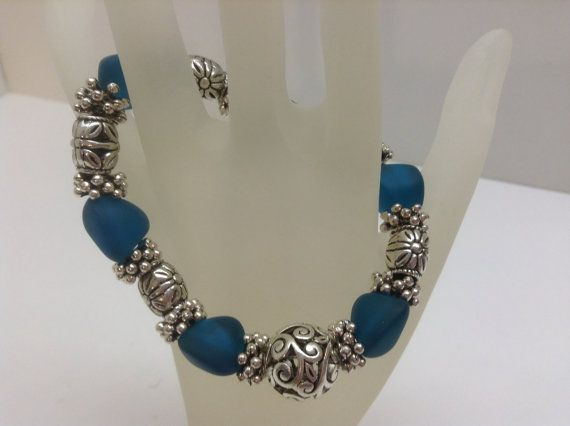 Sea Glass Nugget and Filigree Ball Stretch Bracelet by kathyv552, $20.00
