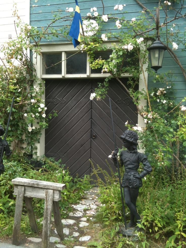 Pretty doorway in Vaxholm Sweden