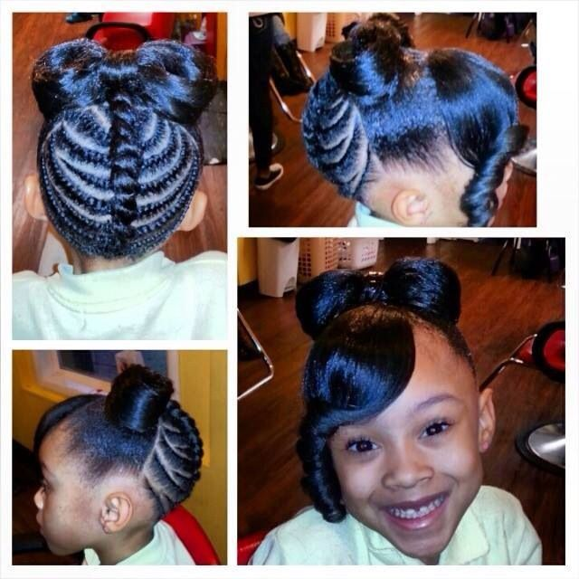 Lil Black Girl Hairstyles For Wedding : Little girl hairstyle minnie bow for the kids