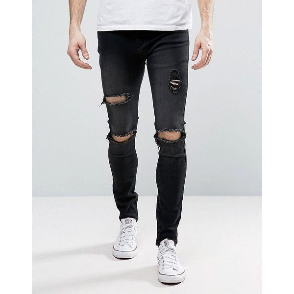 Liquor & Poker Zip Skinny Jean Open Rips Black Wash ($60) ❤ liked on Polyvore featuring men's fashion, men's clothing, men's jeans, black, mens ripped jeans, mens tall jeans, mens skinny fit jeans, mens super skinny jeans and mens distressed skinny jeans