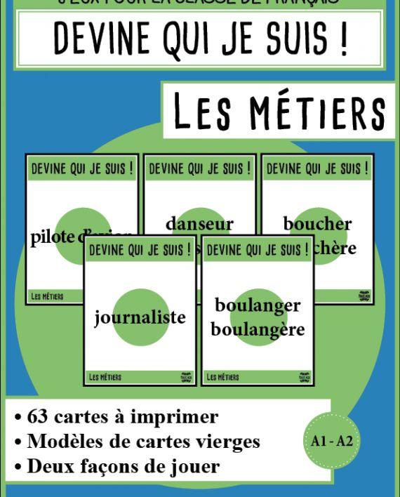 """Cartes à faire deviner en FLE : """"Devine !"""" sur les métiers"""