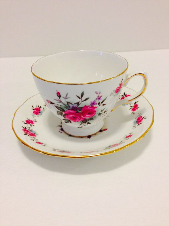 Queen Anne Fine Bone China Teacup And by vintagebygramma on Etsy