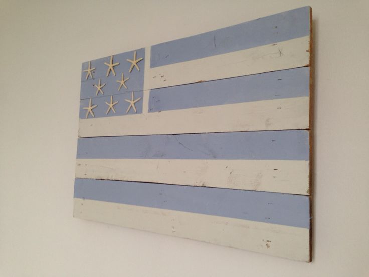 Beach american flag, done with annie sloan chalk paint in old white and luis blue