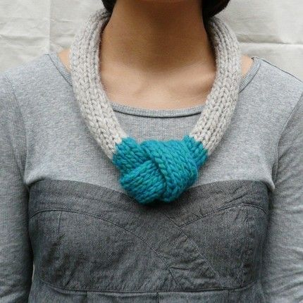 Knit Knot Necklace by Wonder Wonder. I could do a ribbed slip stitch and get a…