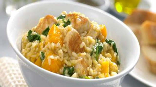 chicken, pumpkin & spinach risotto :)