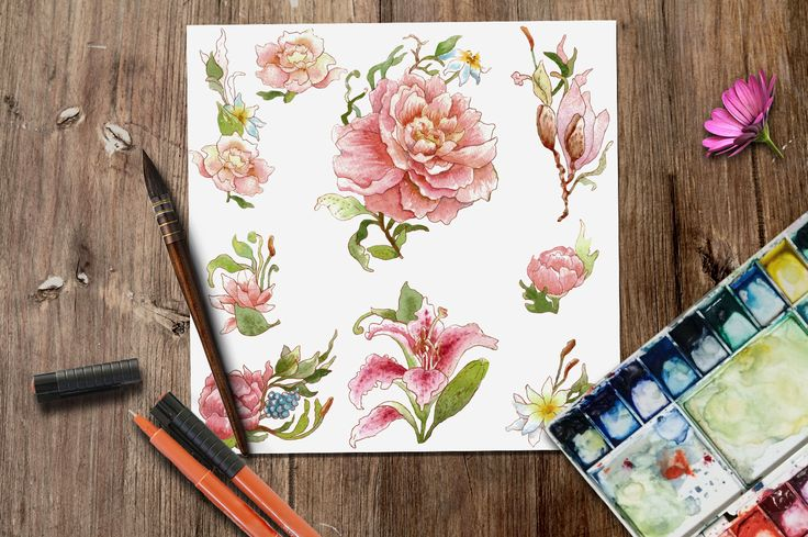 Watercolor DIY roses graphics set by Digital art shop on Creative Market