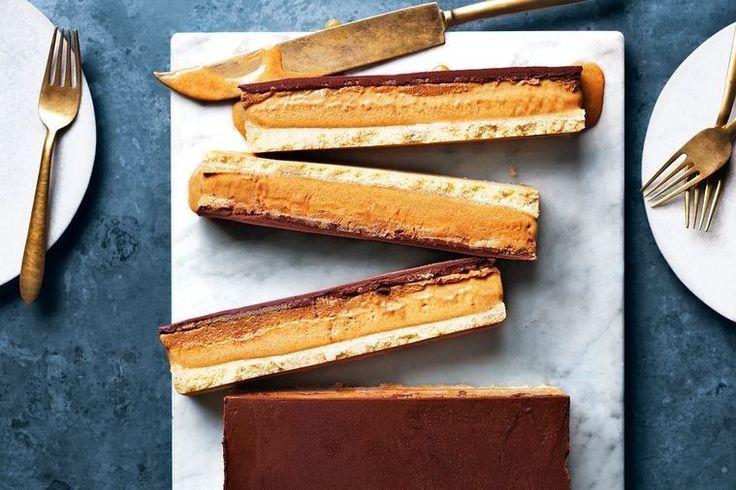 Frozen caramel slice