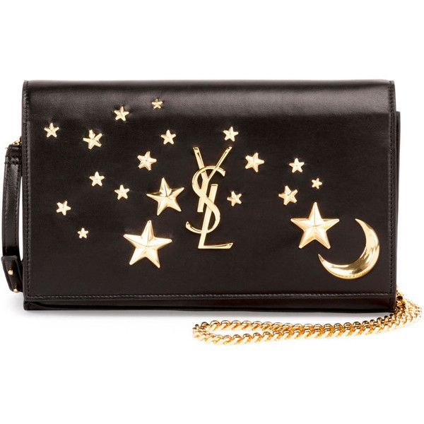 Saint Laurent Monogram Flap Moon & Stars Wallet-on-Chain ($1,755) ❤ liked on Polyvore featuring bags, wallets, black, chain shoulder bag, yves saint laurent wallet, snap wallet, star wallet and real leather wallets