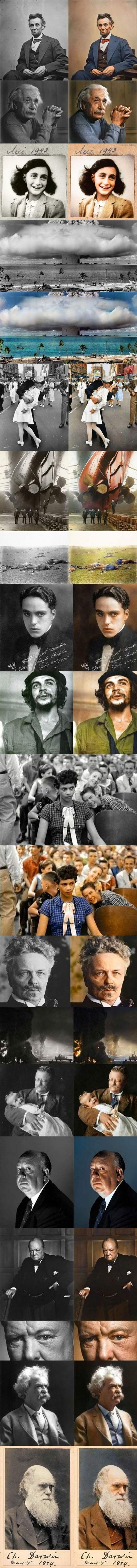 Colorized iconic photos.