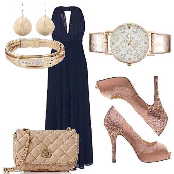 Serata romantica o cerimonia? Abito blu lungo con scollo in avanti e sulla schiena, abbinato con accessori color cipria e gioielli color oro. Fine ed elegante per chi ama essere di classe o desidera stupire.