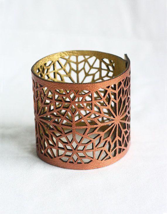 Géométrique Laser coupe cuivre & or Faux cuir brassard (inspiré de zellige marocain)