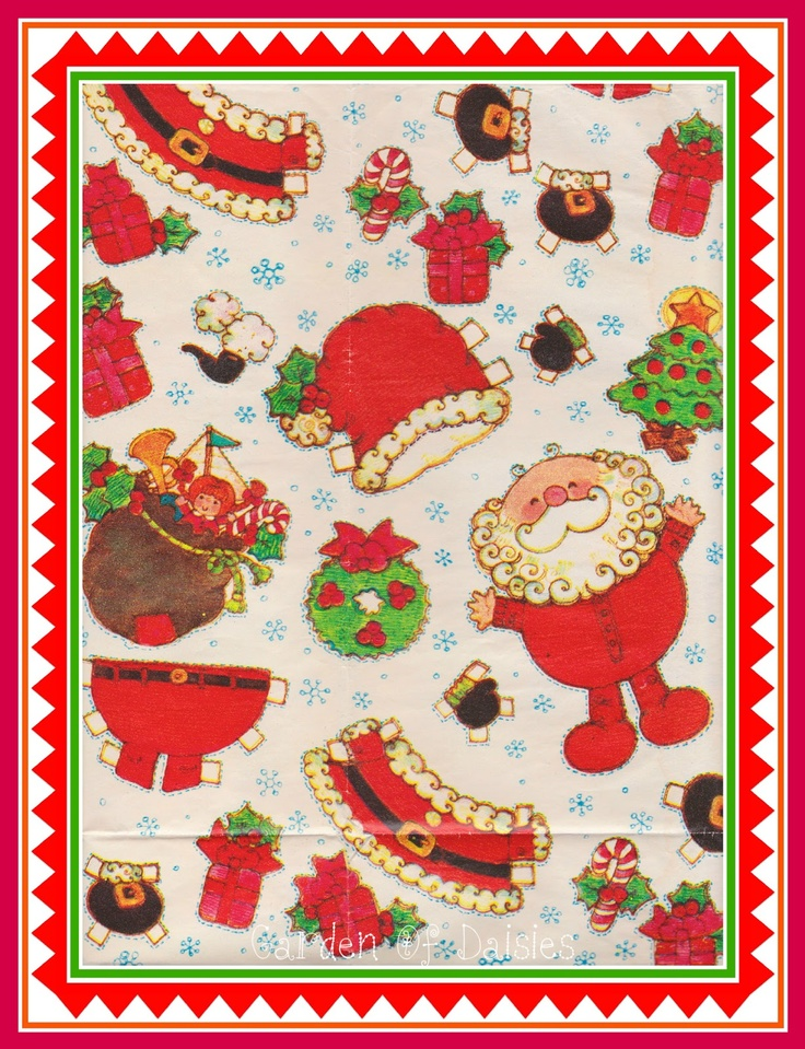 Santa's red flannel union suit-  Garden Of Daisies* 1500 free paper dolls at artist Arielle Gabriel's The International Paper Doll Society also free China paper dolls at The China Adventures of Arielle Gabriel, the Canadian travel site on Hong Kong & China