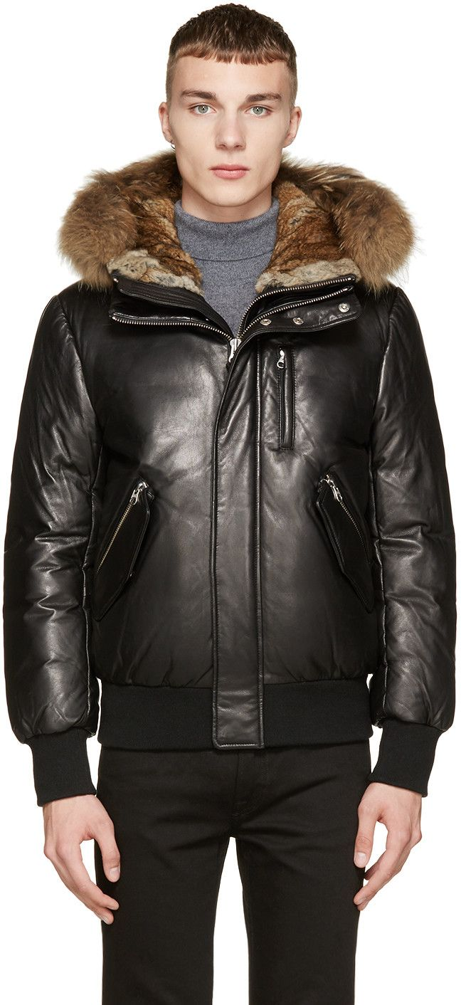 Mackage Black Leather & Fur Down Glen-F5 Coat | Mark | Pinterest