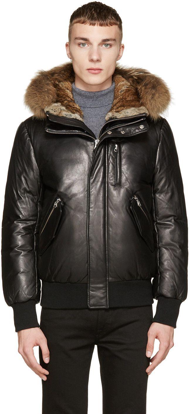 Mackage Black Leather & Fur Down Glen-F5 Coat | Mark | Pinterest